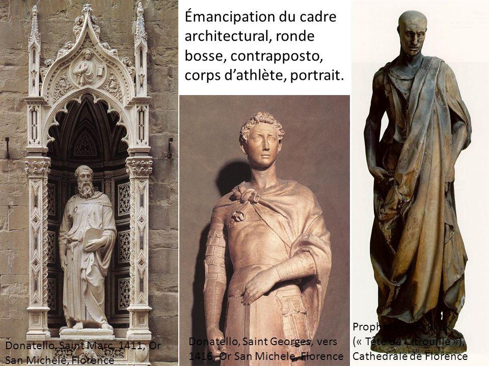 Émancipation du cadre architectural, ronde bosse, contrapposto, corps dathlète, portrait.