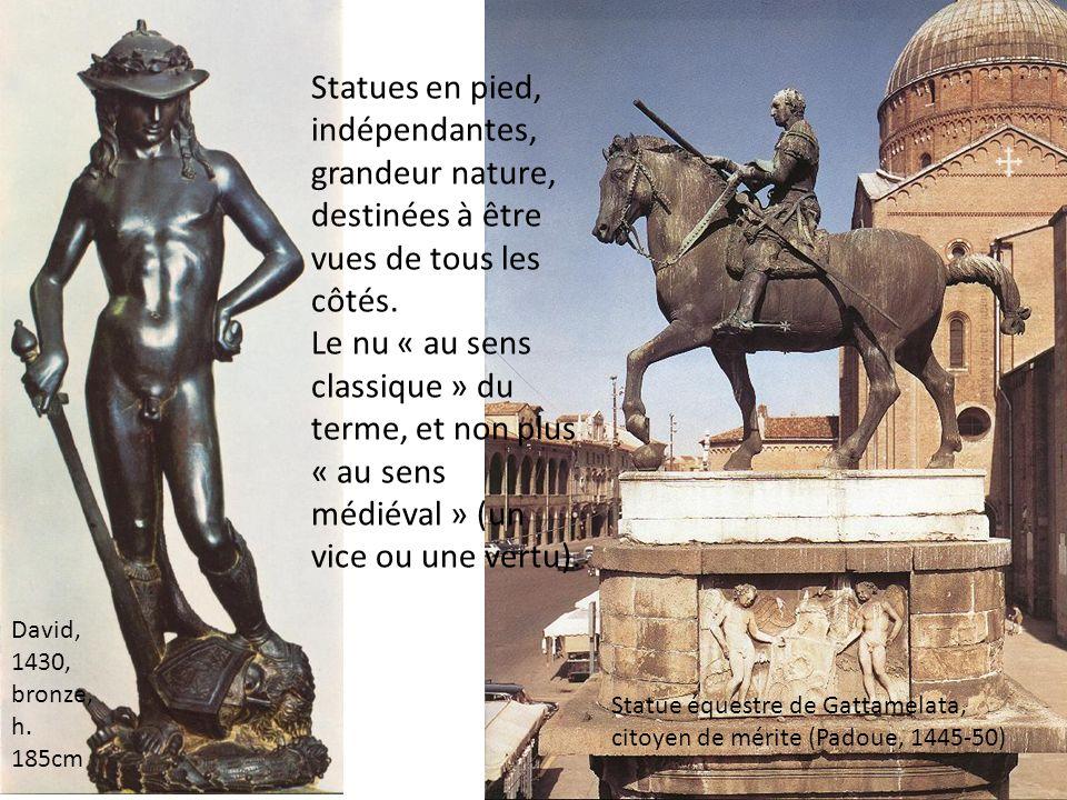 Statues en pied, indépendantes, grandeur nature, destinées à être vues de tous les côtés. Le nu « au sens classique » du terme, et non plus « au sens