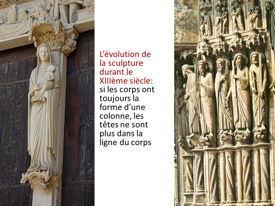 Lévolution de la sculpture durant le XIIIème siècle: si les corps ont toujours la forme dune colonne, les têtes ne sont plus dans la ligne du corps