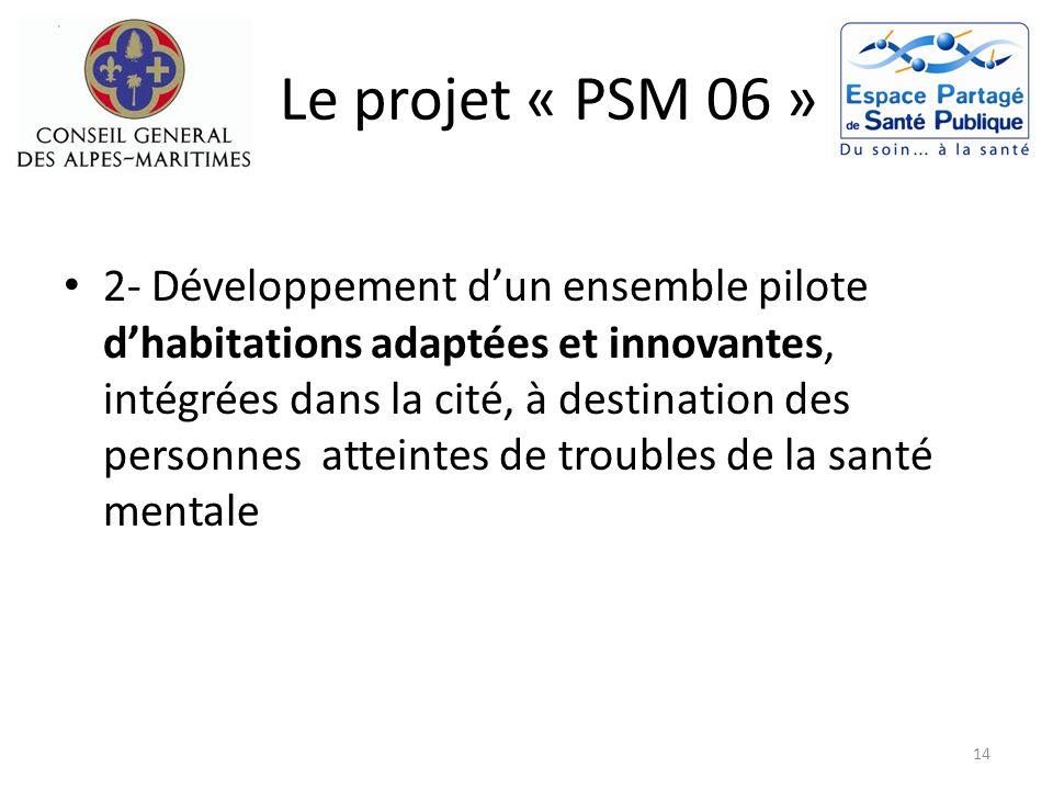 Le projet « PSM 06 » 2- Développement dun ensemble pilote dhabitations adaptées et innovantes, intégrées dans la cité, à destination des personnes att