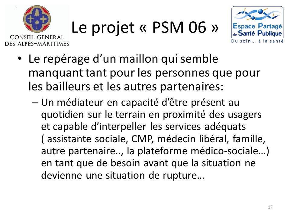 Le projet « PSM 06 » Le repérage dun maillon qui semble manquant tant pour les personnes que pour les bailleurs et les autres partenaires: – Un médiat