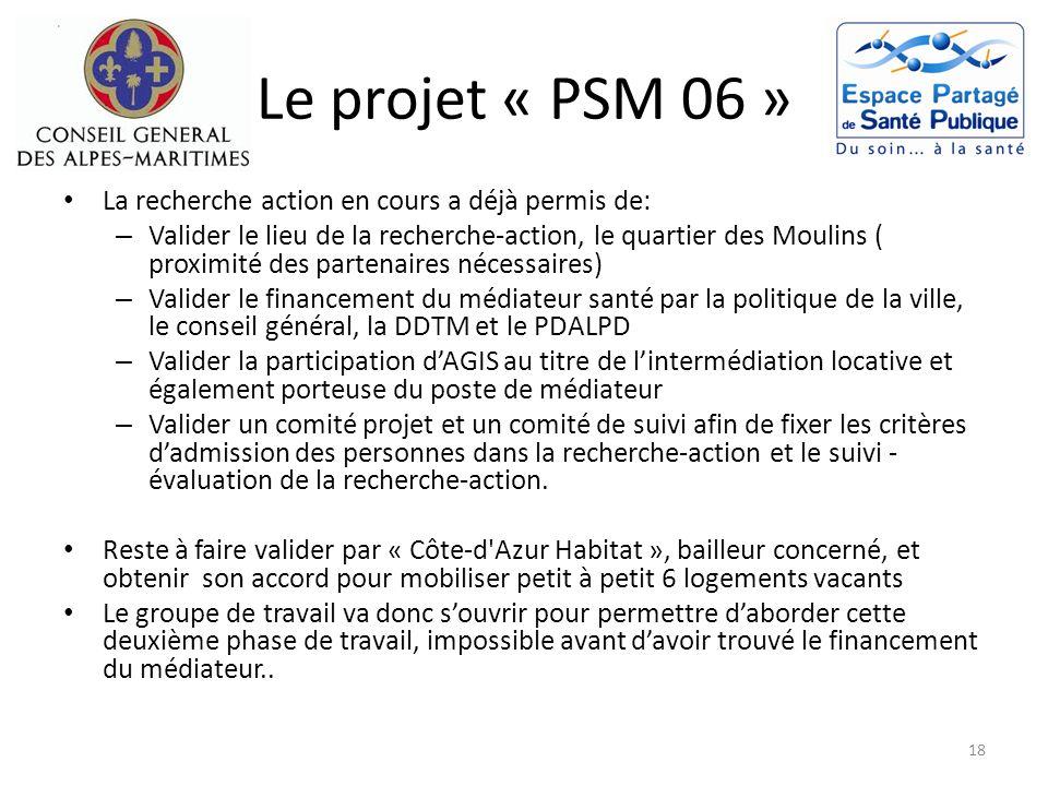 Le projet « PSM 06 » La recherche action en cours a déjà permis de: – Valider le lieu de la recherche-action, le quartier des Moulins ( proximité des