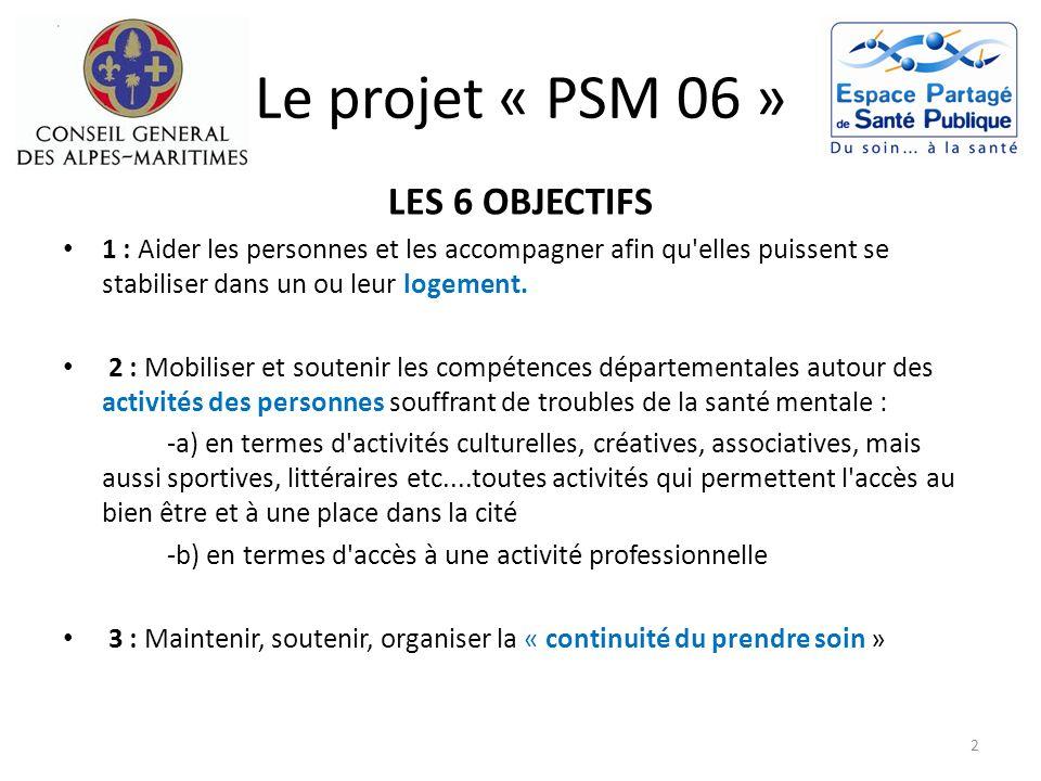 Le projet « PSM 06 » LES 6 OBJECTIFS 4 : Accueillir, accompagner, soutenir, les aidants 5 : Accompagner, organiser, soutenir l accueil professionnel de première ligne.