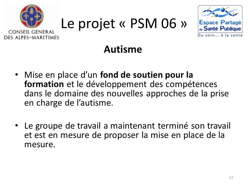 Le projet « PSM 06 » Autisme Mise en place dun fond de soutien pour la formation et le développement des compétences dans le domaine des nouvelles app