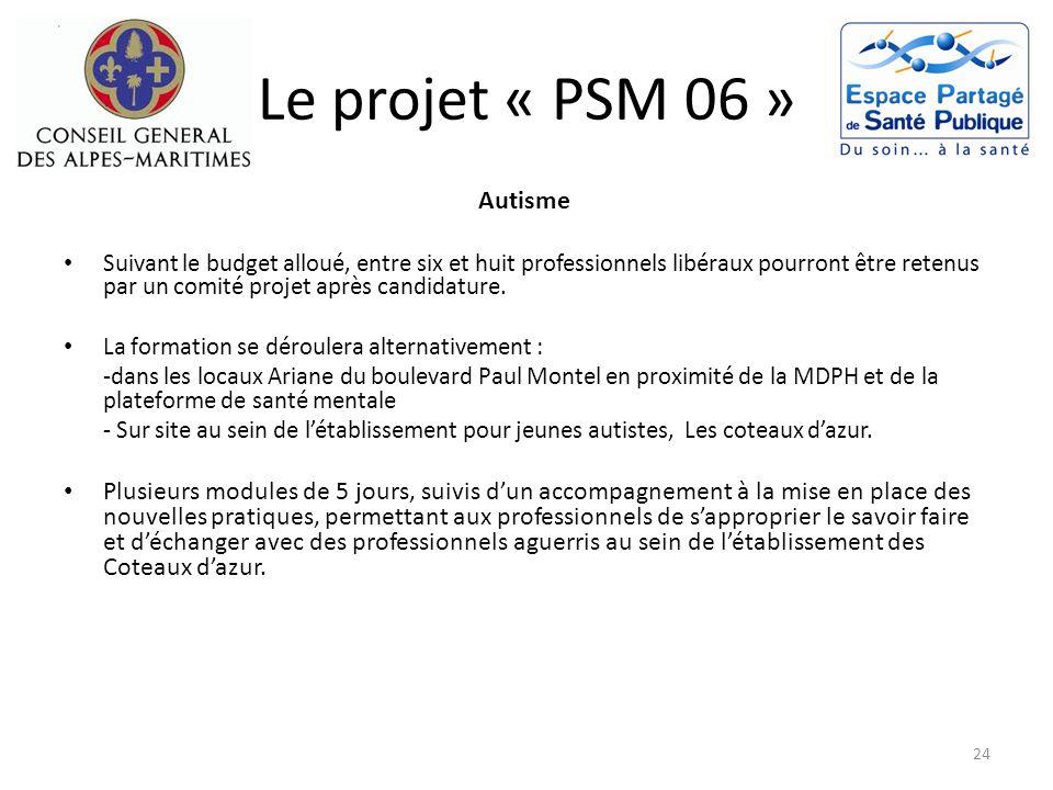 Le projet « PSM 06 » Autisme Suivant le budget alloué, entre six et huit professionnels libéraux pourront être retenus par un comité projet après cand