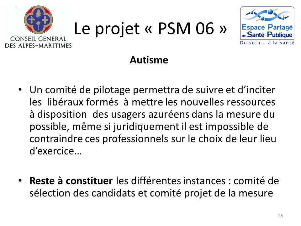 Le projet « PSM 06 » Autisme Un comité de pilotage permettra de suivre et dinciter les libéraux formés à mettre les nouvelles ressources à disposition