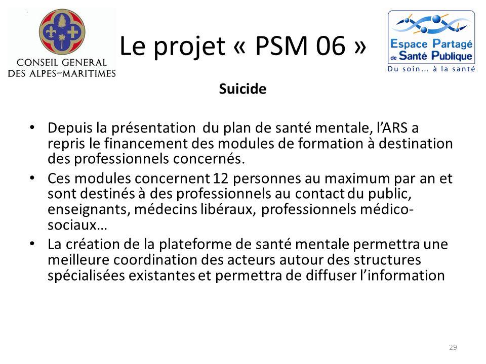 Le projet « PSM 06 » Suicide Depuis la présentation du plan de santé mentale, lARS a repris le financement des modules de formation à destination des