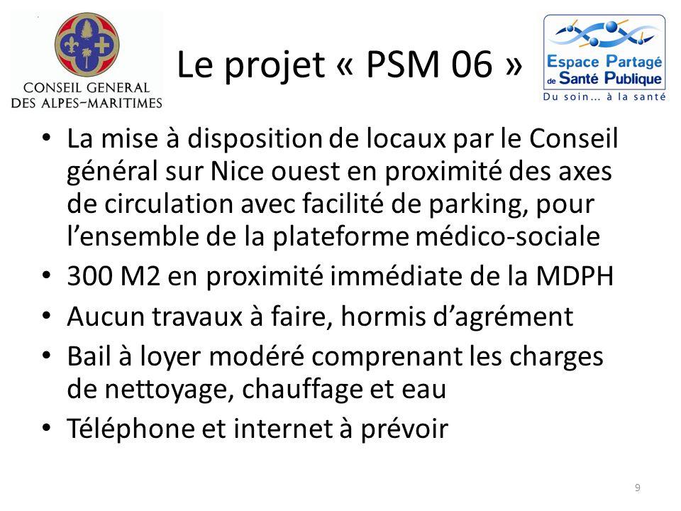 Le projet « PSM 06 » La mise à disposition de locaux par le Conseil général sur Nice ouest en proximité des axes de circulation avec facilité de parki