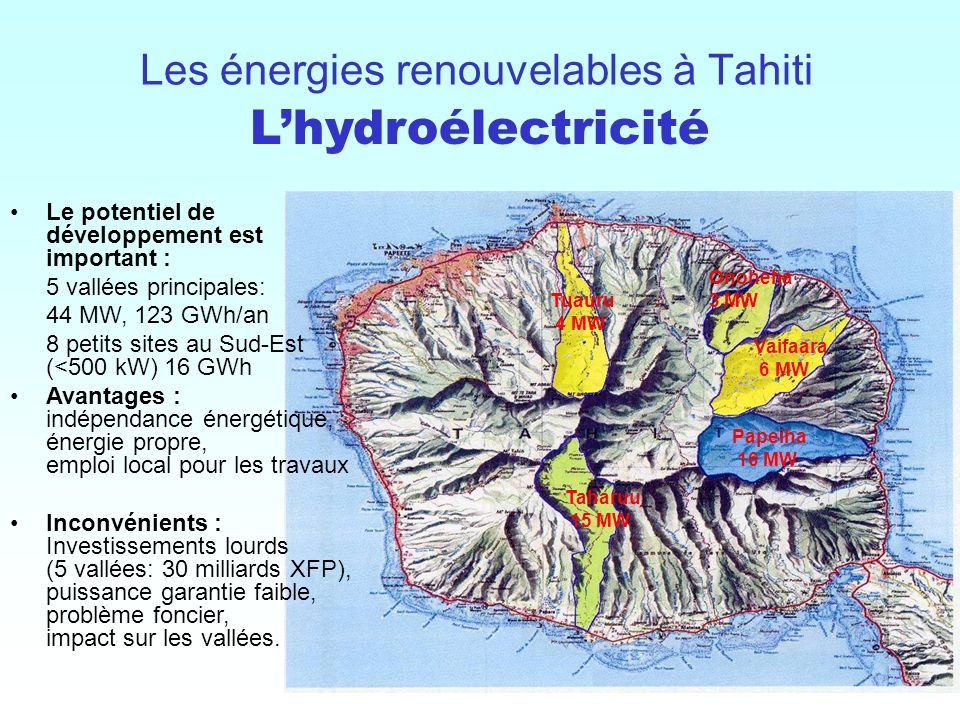 10 / Les énergies renouvelables à Tahiti Papeiha 16 MW Vaifaara 6 MW Tuauru 4 MW Taharuu 15 MW Onoheha 3 MW Le potentiel de développement est importan
