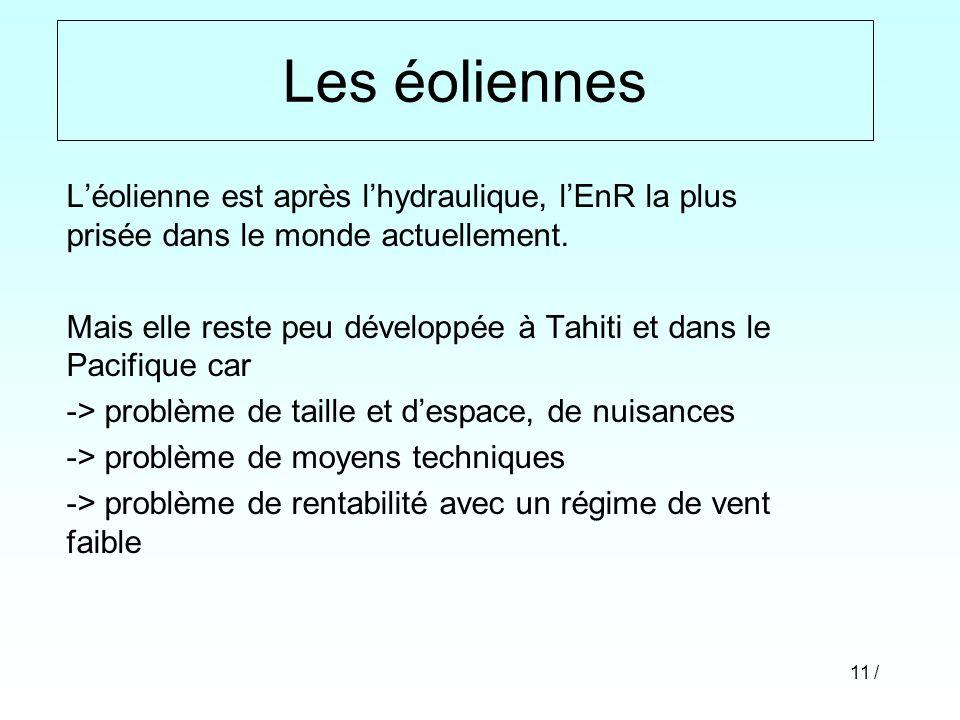 11 / Léolienne est après lhydraulique, lEnR la plus prisée dans le monde actuellement. Mais elle reste peu développée à Tahiti et dans le Pacifique ca