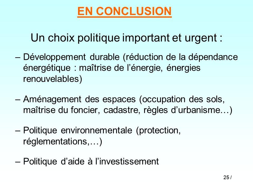 25 / EN CONCLUSION Un choix politique important et urgent : –Développement durable (réduction de la dépendance énergétique : maîtrise de lénergie, éne