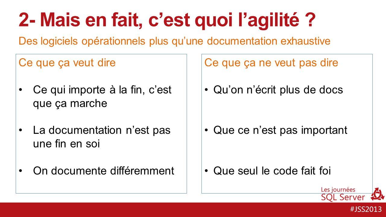 #JSS2013 Des logiciels opérationnels plus quune documentation exhaustive 2- Mais en fait, cest quoi lagilité .