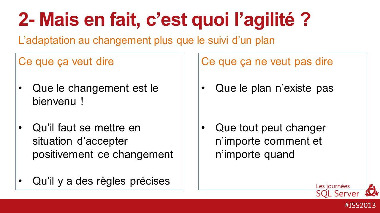 #JSS2013 Ladaptation au changement plus que le suivi dun plan 2- Mais en fait, cest quoi lagilité .