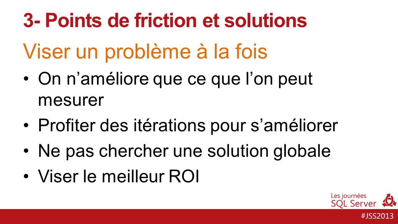 #JSS2013 Viser un problème à la fois On naméliore que ce que lon peut mesurer Profiter des itérations pour saméliorer Ne pas chercher une solution globale Viser le meilleur ROI 3- Points de friction et solutions