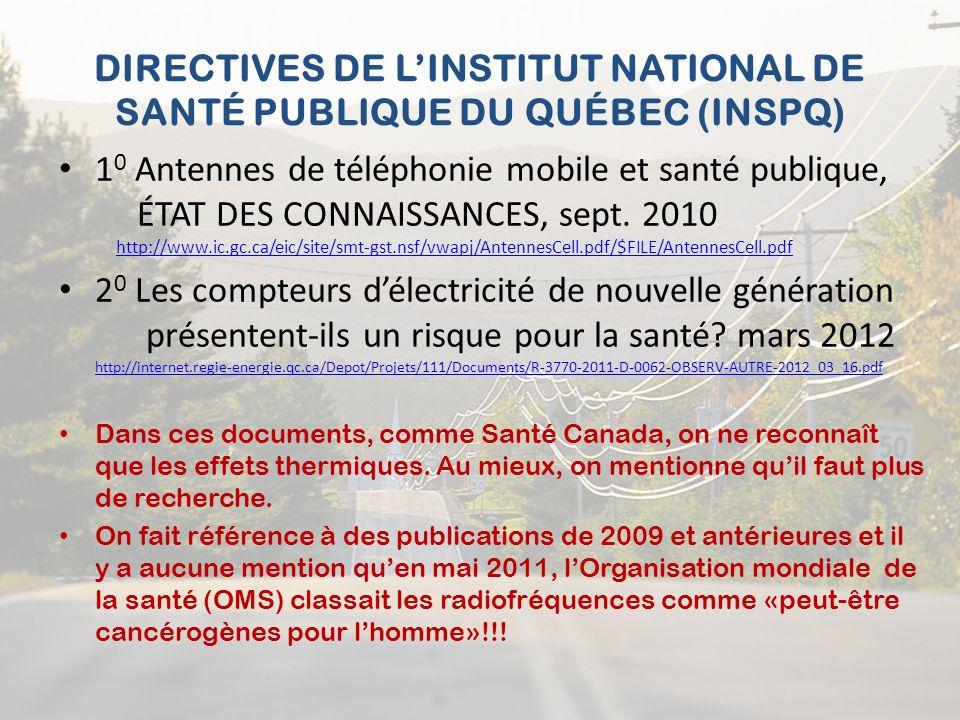 DIRECTIVES DE LINSTITUT NATIONAL DE SANTÉ PUBLIQUE DU QUÉBEC (INSPQ) 1 0 Antennes de téléphonie mobile et santé publique, ÉTAT DES CONNAISSANCES, sept