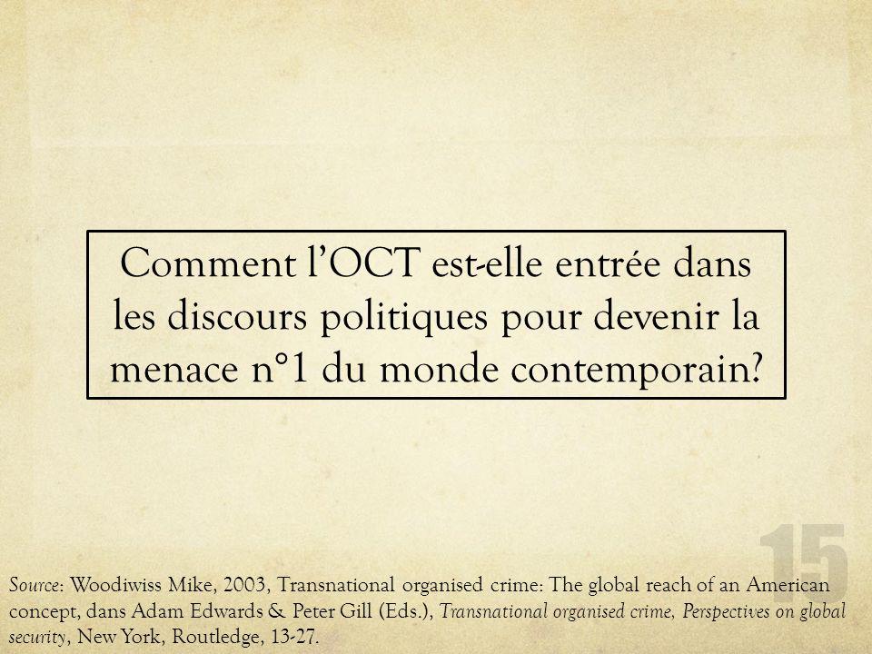15 Comment lOCT est-elle entrée dans les discours politiques pour devenir la menace n°1 du monde contemporain? Source : Woodiwiss Mike, 2003, Transnat