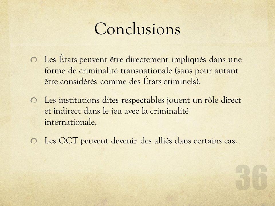 Conclusions Les États peuvent être directement impliqués dans une forme de criminalité transnationale (sans pour autant être considérés comme des État