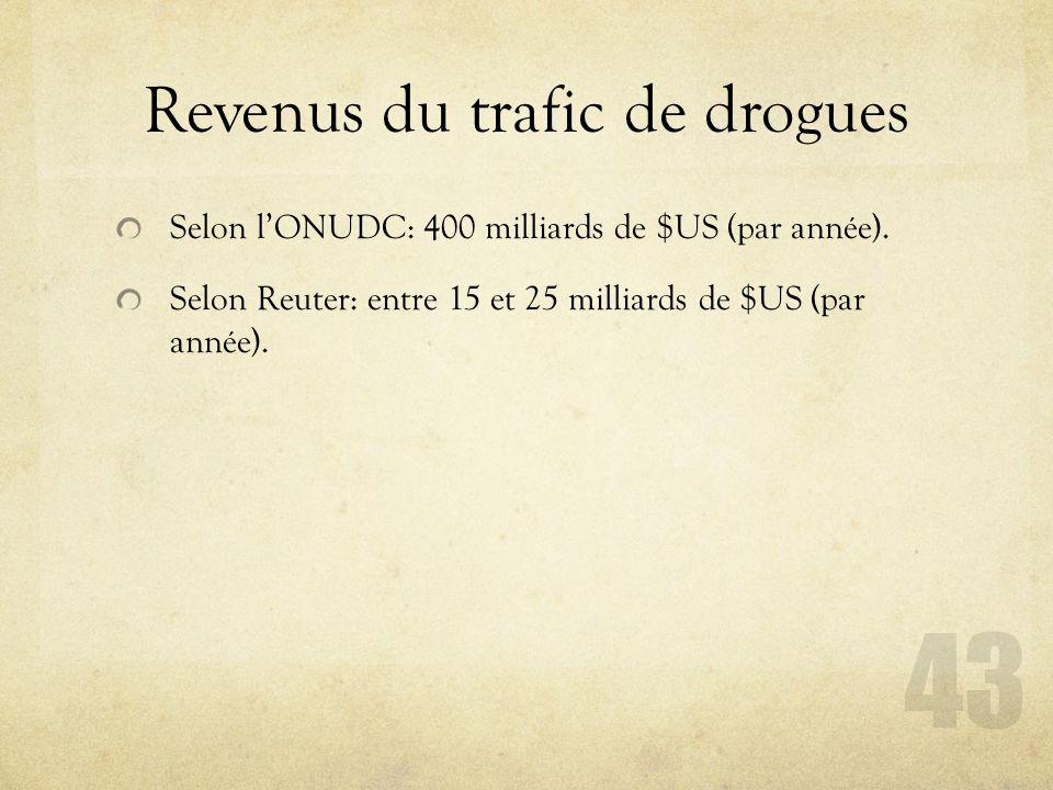 Revenus du trafic de drogues Selon lONUDC: 400 milliards de $US (par année). Selon Reuter: entre 15 et 25 milliards de $US (par année). 43