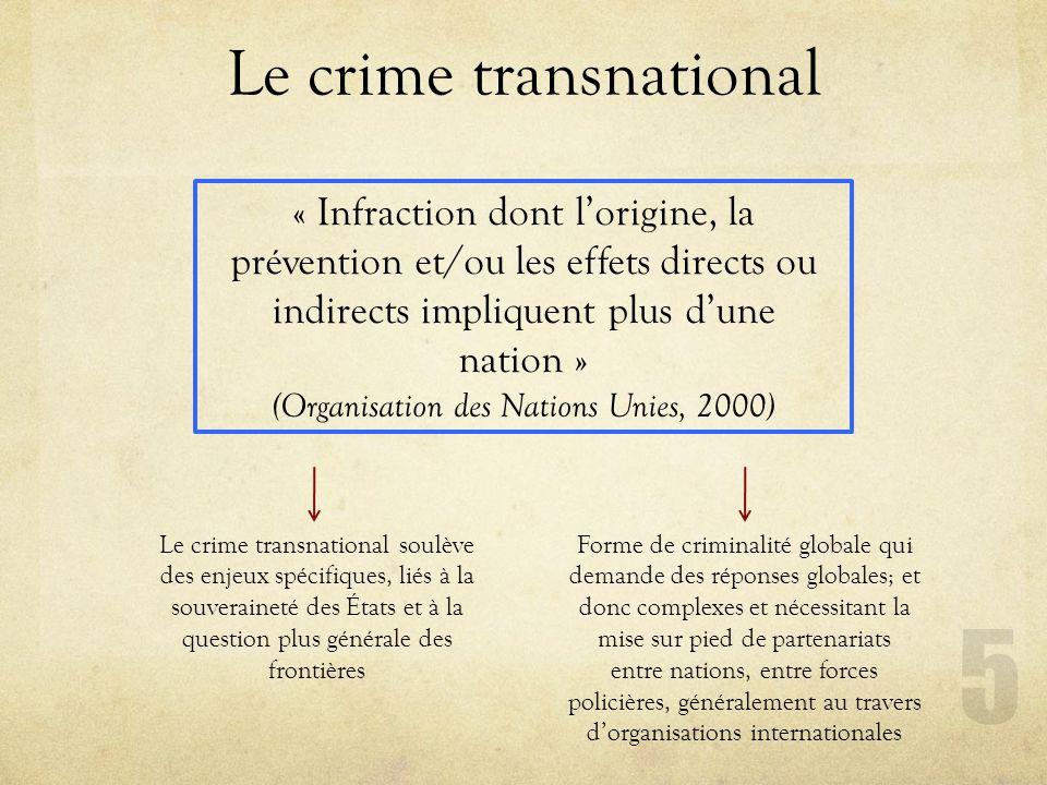 Le crime transnational 5 « Infraction dont lorigine, la prévention et/ou les effets directs ou indirects impliquent plus dune nation » (Organisation d