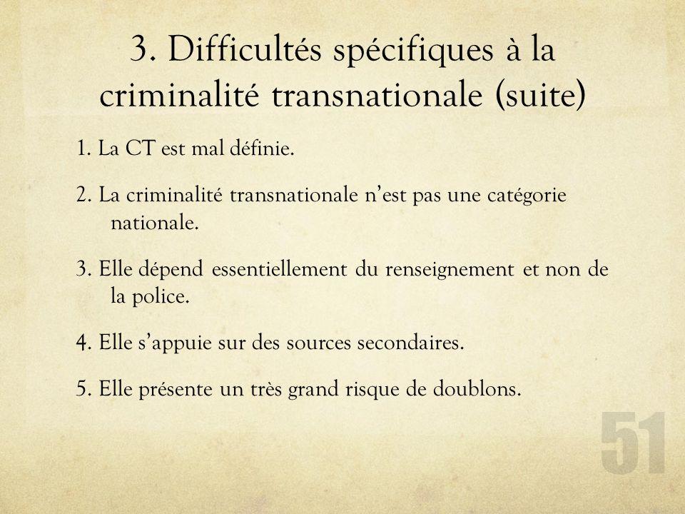 1. La CT est mal définie. 2. La criminalité transnationale nest pas une catégorie nationale. 3. Elle dépend essentiellement du renseignement et non de