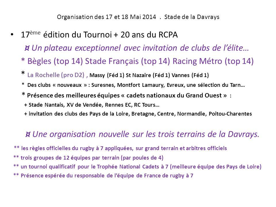 17° Tournoi Cadets à 7 et Fête des Ecoles de rugby des Pays de la Loire Week-end des 17 et 18 Mai 2014 à ANCENIS 44150 Dossier de Presse préparatoire.