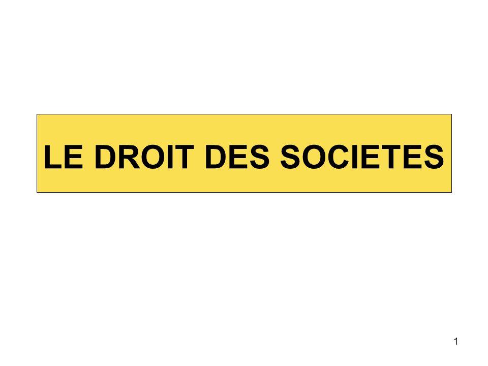 1 LE DROIT DES SOCIETES