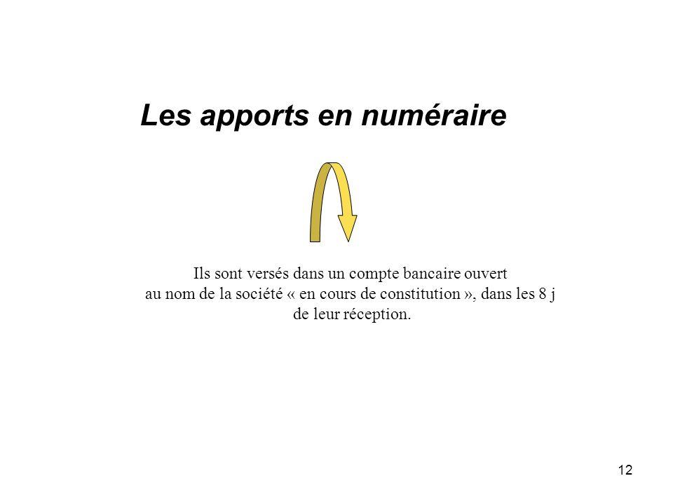12 Les apports en numéraire Ils sont versés dans un compte bancaire ouvert au nom de la société « en cours de constitution », dans les 8 j de leur réc