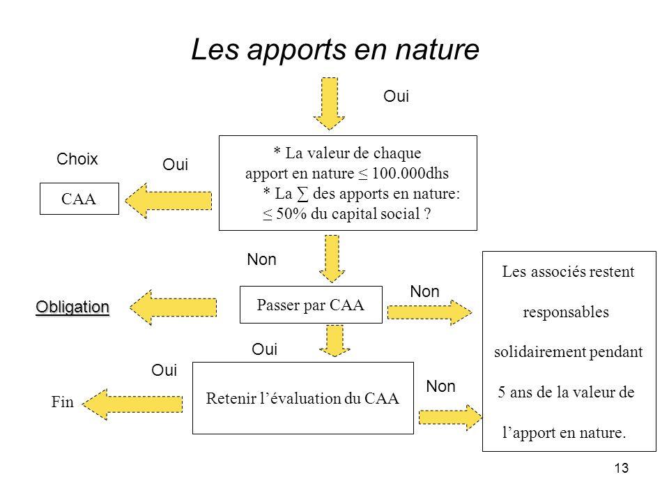 13 Les apports en nature Obligation Choix Oui * La valeur de chaque apport en nature 100.000dhs * La des apports en nature: 50% du capital social ? CA