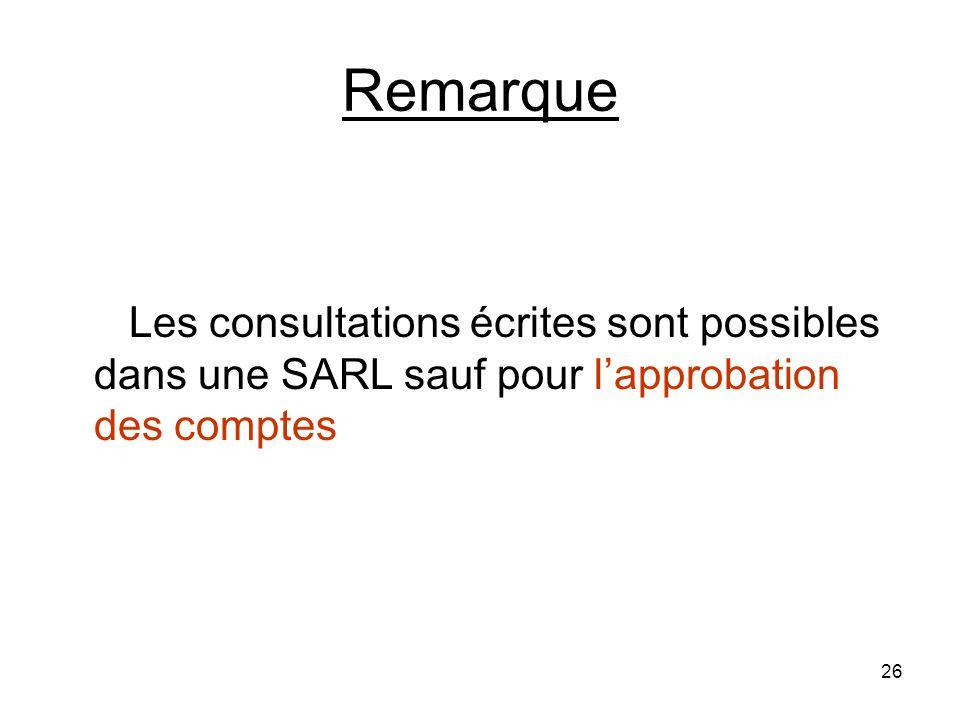 26 Remarque Les consultations écrites sont possibles dans une SARL sauf pour lapprobation des comptes