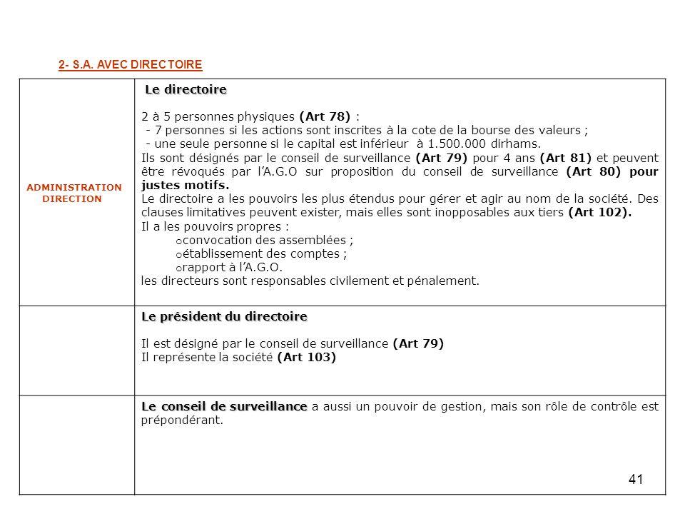 41 2- S.A. AVEC DIRECTOIRE ADMINISTRATION DIRECTION Le directoire 2 à 5 personnes physiques (Art 78) : - 7 personnes si les actions sont inscrites à l