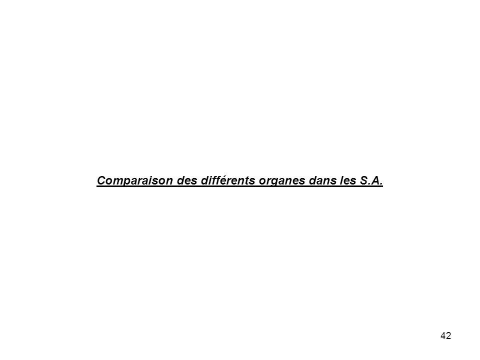 42 Comparaison des différents organes dans les S.A.