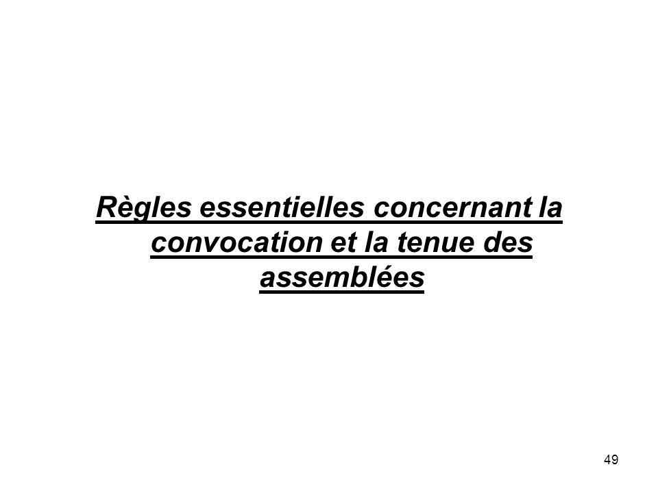 49 Règles essentielles concernant la convocation et la tenue des assemblées