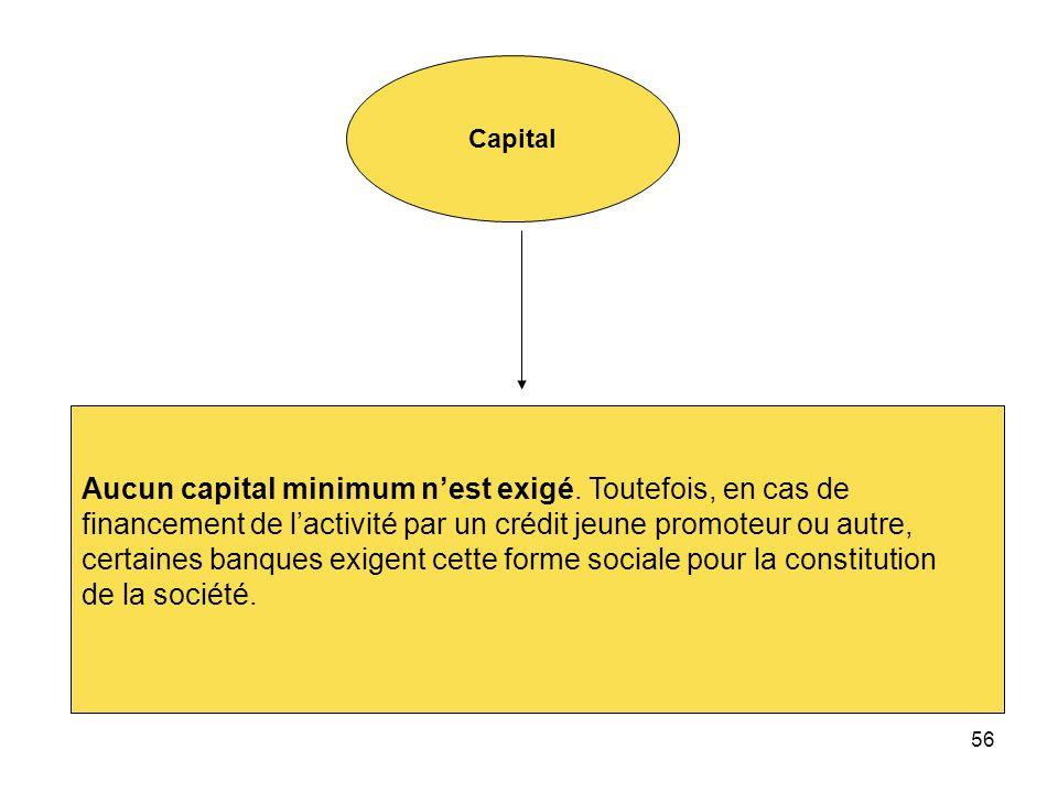 56 Capital Aucun capital minimum nest exigé. Toutefois, en cas de financement de lactivité par un crédit jeune promoteur ou autre, certaines banques e