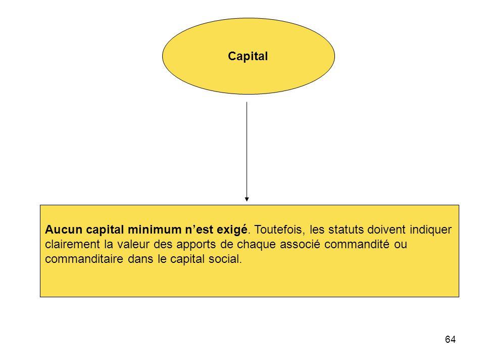 64 Capital Aucun capital minimum nest exigé. Toutefois, les statuts doivent indiquer clairement la valeur des apports de chaque associé commandité ou