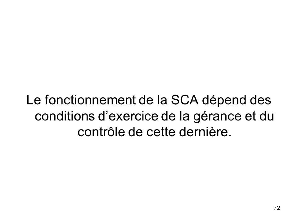 72 Le fonctionnement de la SCA dépend des conditions dexercice de la gérance et du contrôle de cette dernière.