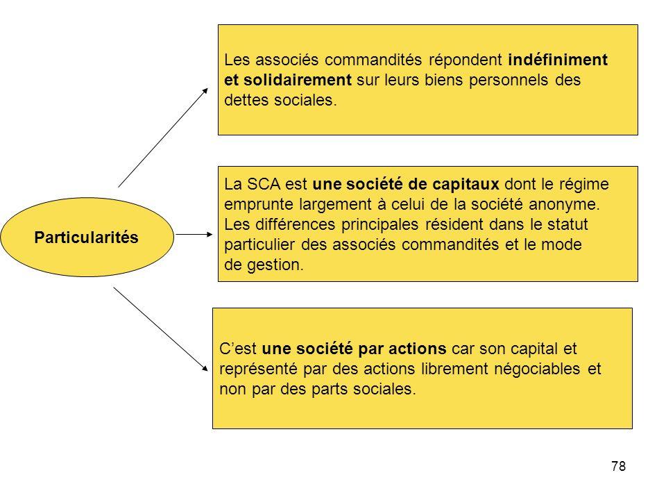 78 Particularités Les associés commandités répondent indéfiniment et solidairement sur leurs biens personnels des dettes sociales. La SCA est une soci