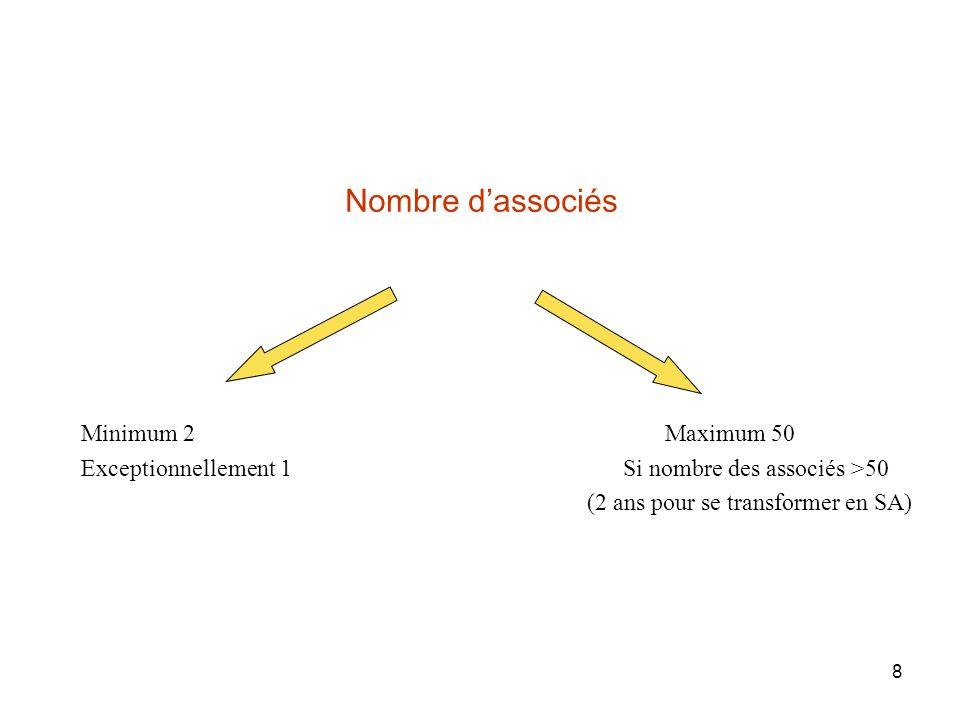 8 Nombre dassociés Minimum 2 Exceptionnellement 1 Maximum 50 Si nombre des associés >50 (2 ans pour se transformer en SA)