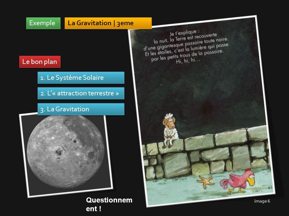 Exemple La Gravitation | 3eme 1. Le Système Solaire 2. L« attraction terrestre » 3. La Gravitation Le bon plan Questionnem ent ! image 6
