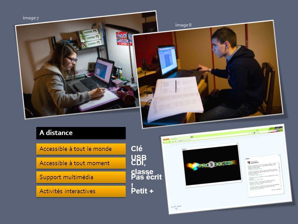 A distance Accessible à tout le monde Accessible à tout moment Support multimédia Activités interactives Clé USB CDI, classe Pas écrit ! Petit + image