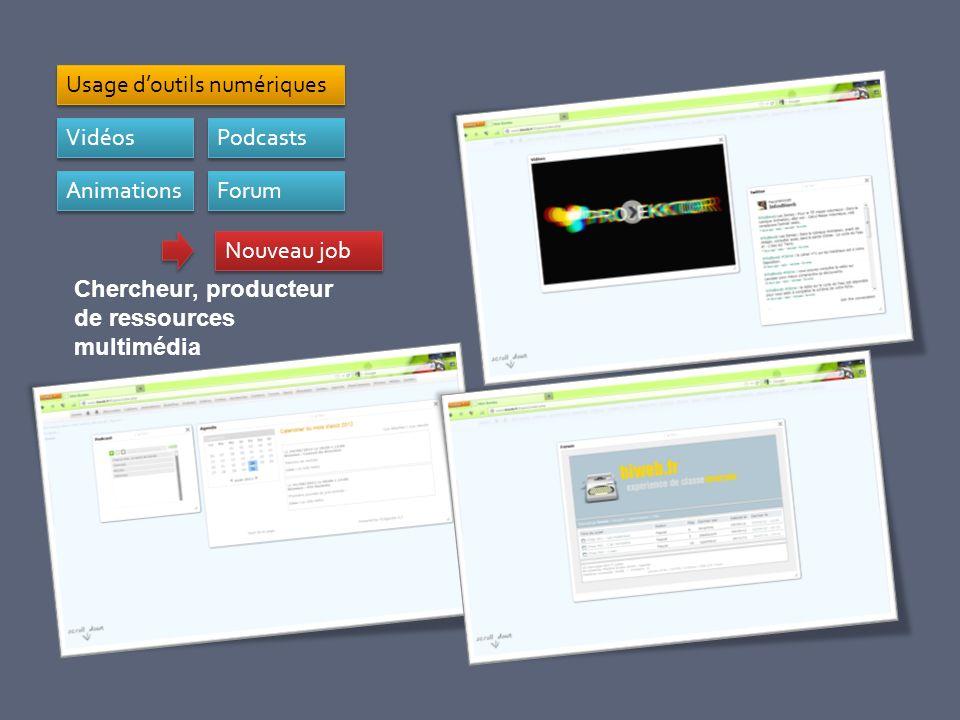 Usage doutils numériques Animations Forum Podcasts Vidéos Nouveau job Chercheur, producteur de ressources multimédia