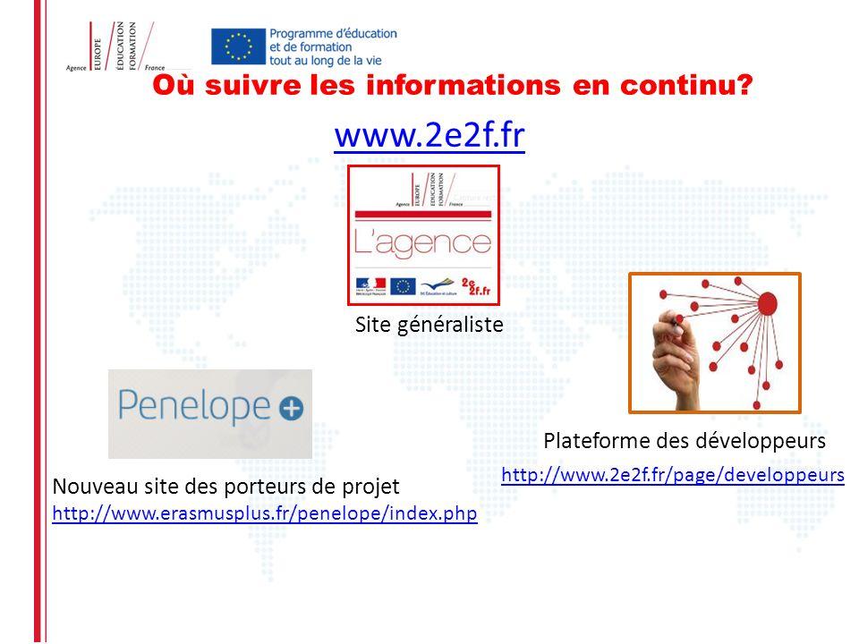 Où suivre les informations en continu? www.2e2f.fr Site généraliste Nouveau site des porteurs de projet http://www.erasmusplus.fr/penelope/index.php h