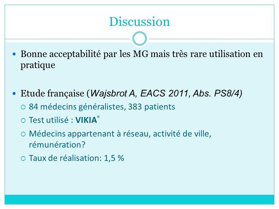Discussion Bonne acceptabilité par les MG mais très rare utilisation en pratique Etude française ( Wajsbrot A, EACS 2011, Abs. PS8/4) 84 médecins géné