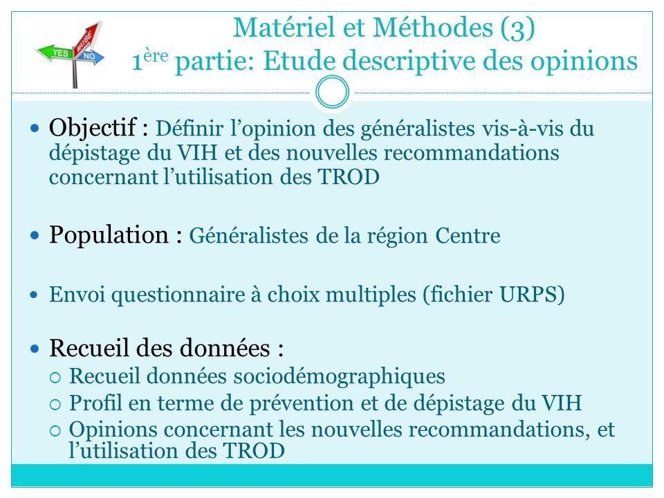 Matériel et Méthodes (3) 1 ère partie: Etude descriptive des opinions Objectif : Définir lopinion des généralistes vis-à-vis du dépistage du VIH et de