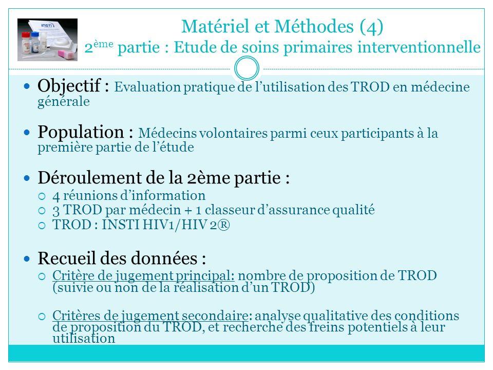 Matériel et Méthodes (4) 2 ème partie : Etude de soins primaires interventionnelle Objectif : Evaluation pratique de lutilisation des TROD en médecine