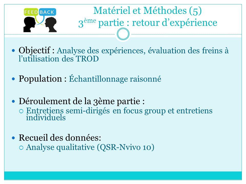Matériel et Méthodes (5) 3 ème partie : retour dexpérience Objectif : Analyse des expériences, évaluation des freins à lutilisation des TROD Populatio