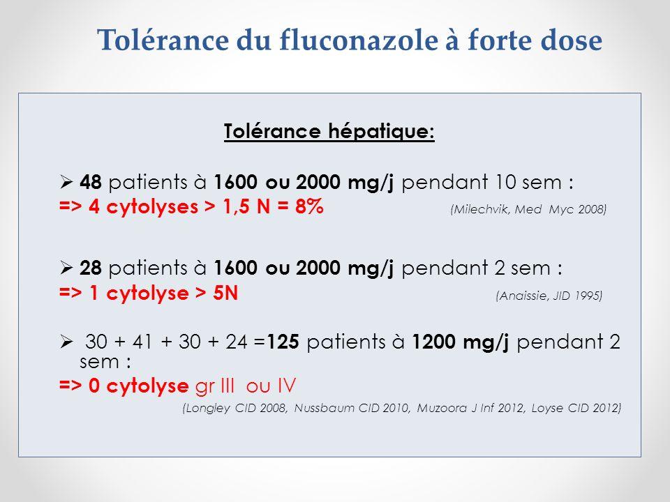 Tolérance du fluconazole à forte dose Tolérance hépatique: 48 patients à 1600 ou 2000 mg/j pendant 10 sem : => 4 cytolyses > 1,5 N = 8% (Milechvik, Me