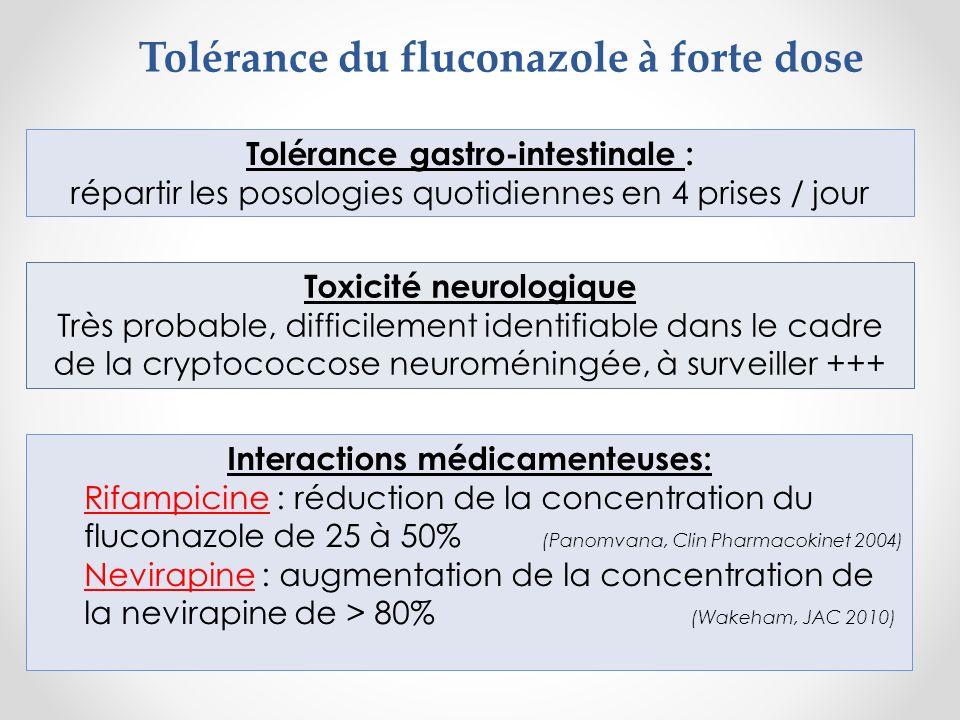 Tolérance du fluconazole à forte dose Tolérance gastro-intestinale : répartir les posologies quotidiennes en 4 prises / jour Toxicité neurologique Trè