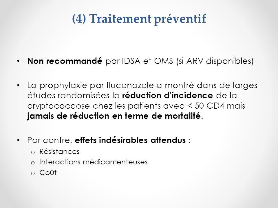 (4) Traitement préventif Non recommandé par IDSA et OMS (si ARV disponibles) La prophylaxie par fluconazole a montré dans de larges études randomisées