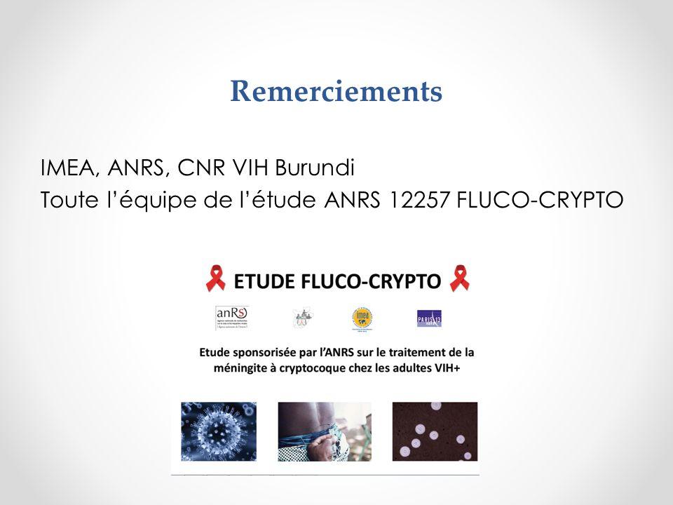 Remerciements IMEA, ANRS, CNR VIH Burundi Toute léquipe de létude ANRS 12257 FLUCO-CRYPTO