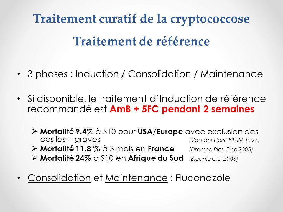 2) Amphotéricine B disponible mais monitoring limité : AmB 5-7j + fluconazole 1200 mg/j Cohorte Ouganda 30 pts avec fluconazole 1200 mg/j + AmB 5j EFA = - 0,30 log CFU/j et mortalité S10 = 28% (Muzoora J Inf 2012) Etude Malawi 20 pts avec fluconazole 1200 mg/j + AmB 7j EFA = - 0,39 log CFU/j (Jackson, AIDS 2012)